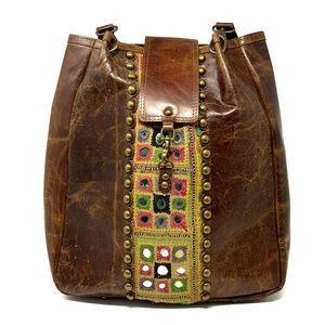 VINTAGE ADDICTION Leather Moroccan Shoulder Bag